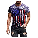 XUEbing American Banderas Camisa para Hombres Manga Corta Retro Casual T-Shirt 4 de Julio Camisas 2021Independence Day Resurgence