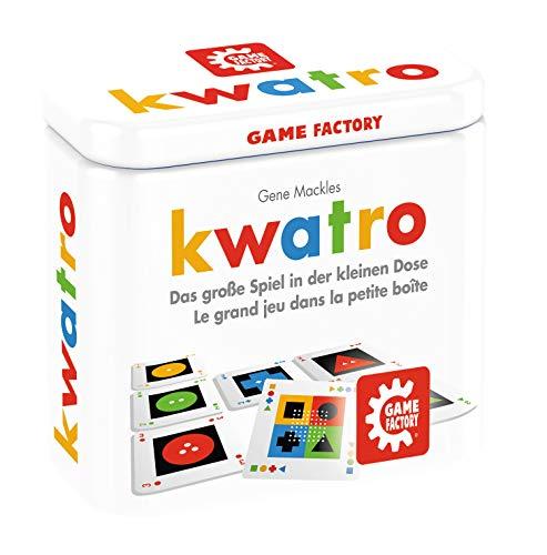 Kwatro, Mini-Kartenspiel in handlicher Metalldose, Legespiel-Mix für Kinder und Erwachsene, Reisespiel