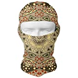 Rich and Colorful Arabic National Patterns Full Face Face Scarf Hood Sunscreen Face Scarf Cycling Hunting Hiking Skiing Face Scarf Dual Layer Cold for Men and Women