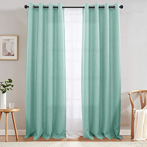 jinchan Moderate Room Darkening Curtains for Bedroom 84 inch Long Linen Like Textured Curtain in Aqua Blue One Panel