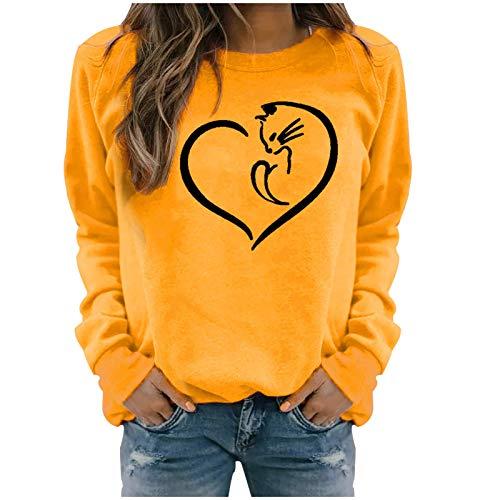 DAY8 Damen Frühling HerbstWarm Bequem Trendy Hautfreundlich Langlebig Winter Lässig Langarm Tops Print Sweatshirt Bluse T-Shirt Pullover Passt problemlos zu jeder Hose