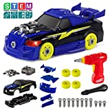 YDPlaier Take Apart Racing Car, 26 Pcs 2 IN 1 Construction Build Your Own Car Toy with Tool Drill,Light& Sound for Kids 3 4 5 Years Olds