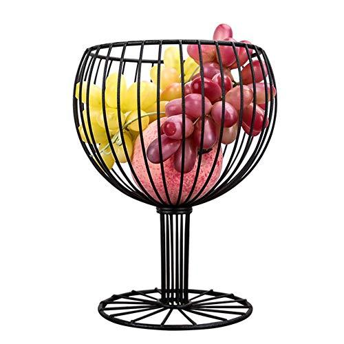 TINGTING-Porte-fruits Corbeilles à Fruits Pieds Hauts Décoration de Verre à vin en métal Fruit Snack Dessert Panier (Couleur : Noir, Taille : 15.5 * 23cm)