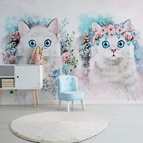 XLXBH 3D-behang, zelfklevend, wandschilderij, 3D-fotobehang, bloem, kat, meisjes, kamer, kinderkamer, slaapkamer, decoratie, achtergrond muurschildering, behang, kinderkamer, kantoor, eetkamer, woonkamer 520x290 cm (BxH) 11 Streifen - selbstklebend