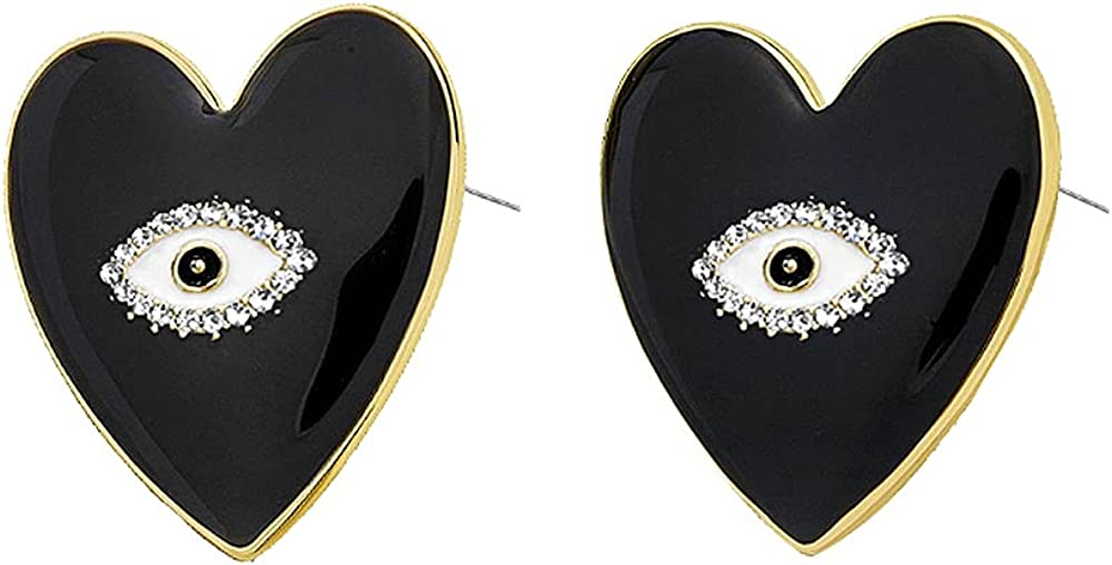 Gold Tone Heart Eyes Dangle Stud Earrings Dainty Enamel Crystal Eye Summer Drop Earrings for Women Girls Fashion Perfect Jewelry for Party Prom and Evening