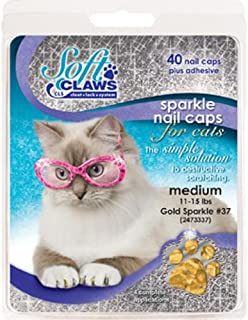 Soft Claws Nail Caps for Cats, Size Medium, Color Gold Glitter