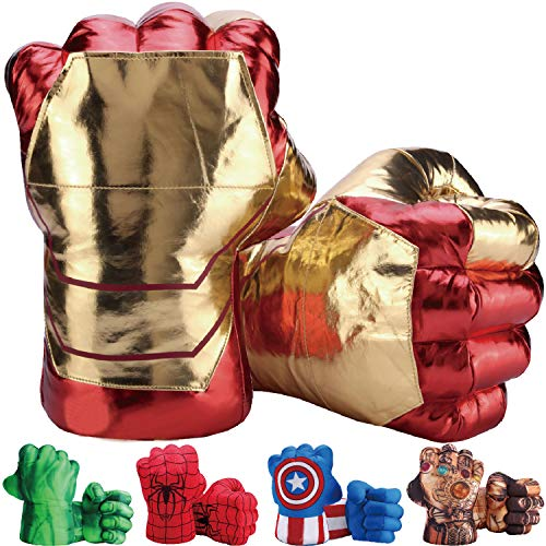 Toydaze Iron Man Hands Ironman Gloves for Kids, Iron Man Fists Soft Plush Stuffed Toys, Accessories to Iron Man Costume, Helmet, Mask, 1 Pair