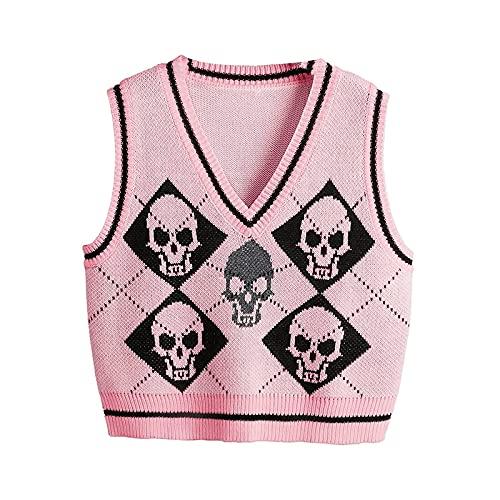 Mujeres Y2k suéter de punto chaleco Halloween esqueleto impresión cuello en V Argyle Preppy Style Tank Tops vintage gótico ropa de punto, rosa, S
