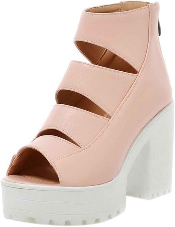 FizaiZifai Women Peep Toe Sandals Chunky Heel