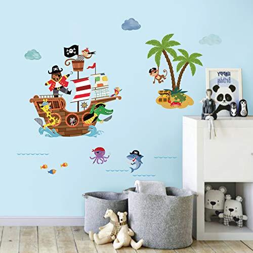 decalmile Pegatinas de Pared Barco Pirata Vinilos Decorativos Infantiles Animales Mono Adhesivos Pared Habitación Bebés Niños Guardería Baños Salón