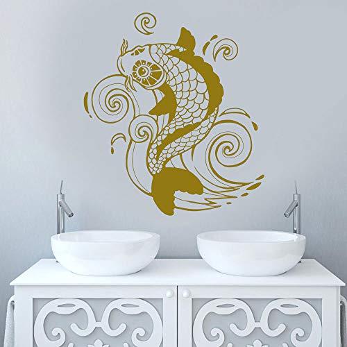 Carpa Wall Sticker Vinile Complementi Arredo Casa Soggiorno Stile Asiatico Zen Arte Giapponese Decalcomania Camera da Letto Bagno Murale Carta da Parati 57x64 cm