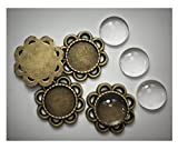 ALL in ONE 10 Sets Cabochon Frame Setting Tray Pendant with Clear Glass Dome Tile for DIY Jewelry Making (12MM Antique Bronze(Flower))
