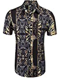 Daupanzees Mens Fashion Short Sleeve Street Wear Designer Polyester African Dashiki Luxury Print Button Up Casual Shirts (Black M)