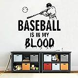 BFMBCH Sticker mural de baseball Baseball dans mon sang vinyle autocollant chambre d'enfant décor à la maison art sticker muraliexpress.com Alibaba Group Bleu 57x62cm
