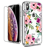 LUHOURI iPhone X Case, Clear iPhone X/Xs Case with Glass Screen Protector, Girls Women Floral Heavy Duty Protective Hard PC Back Case with Ultra-Thin Shockproof Slim TPU Bumper 10 Case 5.8-inch