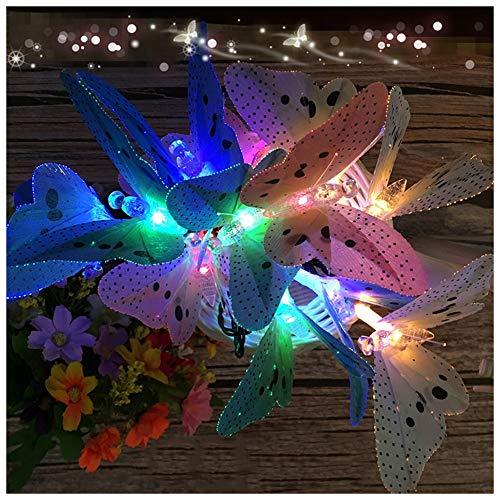 AJDGL Guirlandes solaires de LED, Lumières étoilées optiques de Jardin de Fibre optique imperméable de Papillon, Lampes de Jardin solaires multicolores Pour le Mariage à la Maison,4m