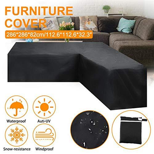 HZL Funda de sofá en Forma de L, 4 tamaños Sofá de ratán de jardín Patio al Aire Libre Cubierta de sofá de Esquina(L)