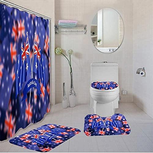 Rideau de Bain en Polyester Drapeau National avec Crochets gratuits Australie Canada Drapeau américain Rideau de Douche personnalisé Couvercle de Toilette Tapis de Bain