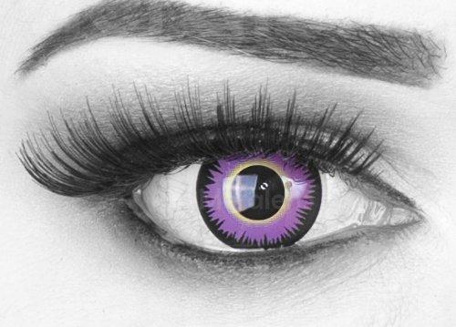 Farbige violett/schwarze Crazy Fun Kontaktlinsen 'Maniac' mit gratis Linsenbehälter + 60ml Pflegemittel, Topqualität zu Fasching, Karneval und Halloween