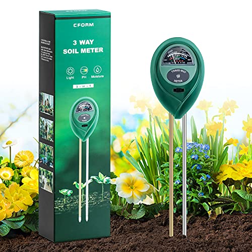 CFORM Soil Test Kit, 3 in 1 Soil Tester Kits with Soil Moisture/Light/pH Tester, Gardening Tool Kit for Plants, Suitable for Indoor & Outdoor, Gardens, Lawn, Farms Use, No Battery Needed