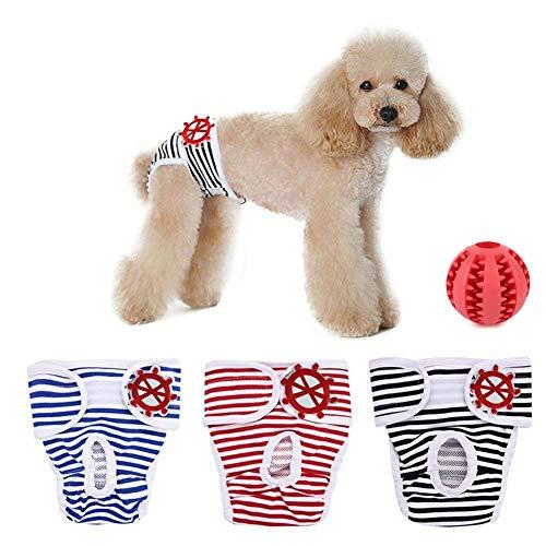 SHUIBIAN Artikel für Hunde Schutzhose Hygieneunterhose 3-er Packung+Freie Hundezähne die Kugel säubern waschbar Schutzhose Hygiene Unterhose aus Baumwolle für Hündin