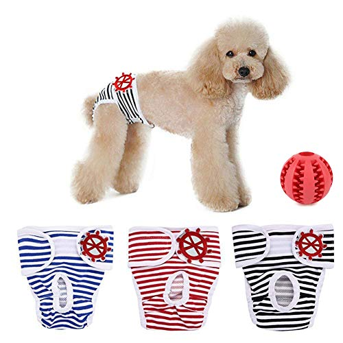 SHUIBIAN Artikel für Hunde Schutzhose Hygieneunterhose 3-er Packung+Freie Hundezähne die Kugel säubern waschbar Schutzhose Hygiene Unterhose aus Baumwolle für Hündin(XXL)