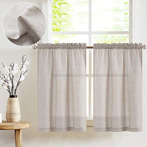 JINCHAN Kitchen Curtains 36 Inch Length Linen Textured Bathroom Window Curtains Short Cafe Curtains for Small Window Treatment 2 Panels Grey