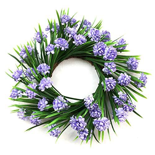 BFYDOAA Corona de hojas verdes artificiales de boj de corona, corona de imitación verde para puerta delantera de eucalipto, guirnalda para decoración de la pared del hogar, boda, corona de puerta