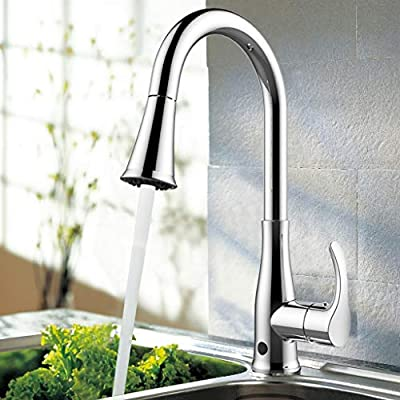 Atalawa Touchless Kitchen Sink Faucets Motion Sensor with Dual Mode Pull Down Sprayer, Single Handle, One Hole and 3 Hole Deck Mount, Easy to Install, Chrome