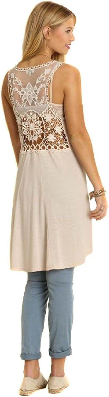 Floral Lace Open Back HiLow Asymmetric Tunic Dress
