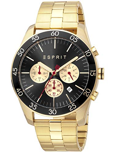 Esprit ES1G204M0095 Jordan Gold Black Uhr Herrenuhr Edelstahl Chrono Datum Gold