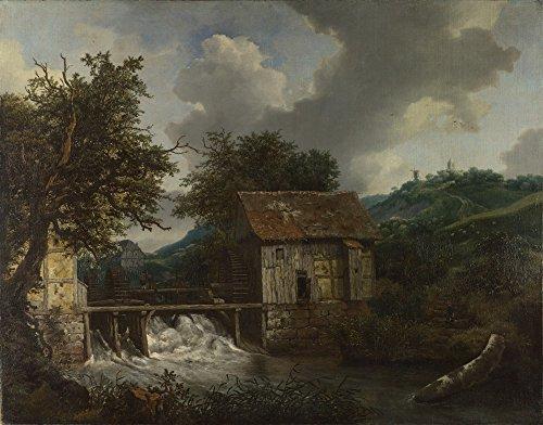 The Museum Outlet – Jacob Van Ruisdael – Zwei Wassermühlen und EIN offenes Sluice bei Singraven, gespannte Leinwandgalerie verpackt 20x28