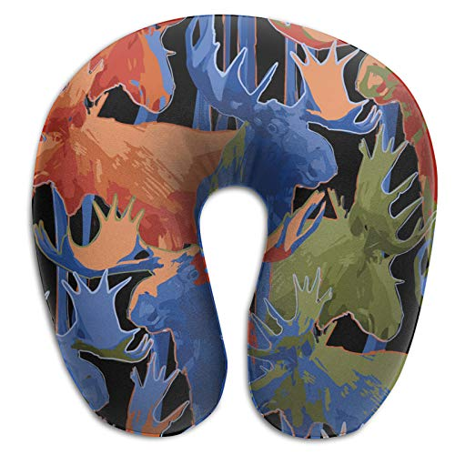 Travel Neck Cushion Travel Pillow U Shape Pillow Double-Sided Printing. Standing Moose