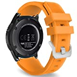 MoKo Band Compatible with Samsung Galaxy Watch 3 45mm/Gear S3 Frontier/Classic/Galaxy Watch 46mm/Huawei Watch GT2 Pro/GT 2e/GT 46mm/GT2 46mm/Ticwatch Pro 3, Silicone Strap Fit 22mm Band, Orange