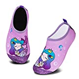 HMIYA Zapatos De Natación Niño Niña Antideslizante Zapatos de Agua Secado RáPido Respirable Escarpines de Baño Descalzo Calcetines Aire Libre Piscina de Playa Surf(Sirena Morada,18/19 EU)