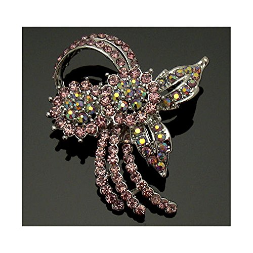Acosta broches - morado amatista y cristal de Swarovski AB - traje de ramillete de flores broche - en caja de regalo