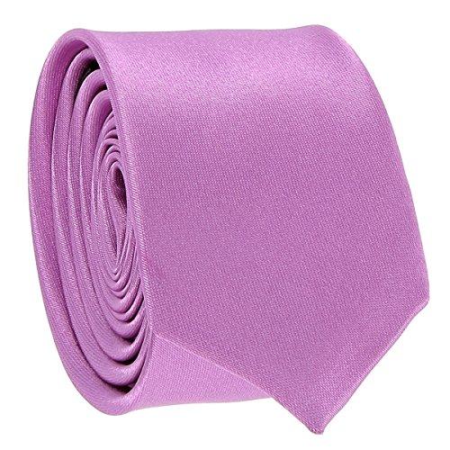 Cravate Fine Mauve - Cravate Homme Coupe Slim Moderne - 5cm à la Pointe - Couleur Unie - Accessoire Chemise pour Mariage, Cérémonie