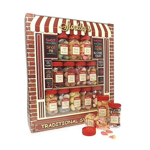 Stockley's Traditional Sweet Shop with 12 mini jars of soft and boiled sweets