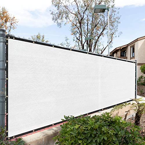 Royal Shade 8' x 3' White Fence Privacy Screen Windscreen Cover Netting Mesh Fabric Cloth - Cable Zip Ties Included - WE Custom Make Size