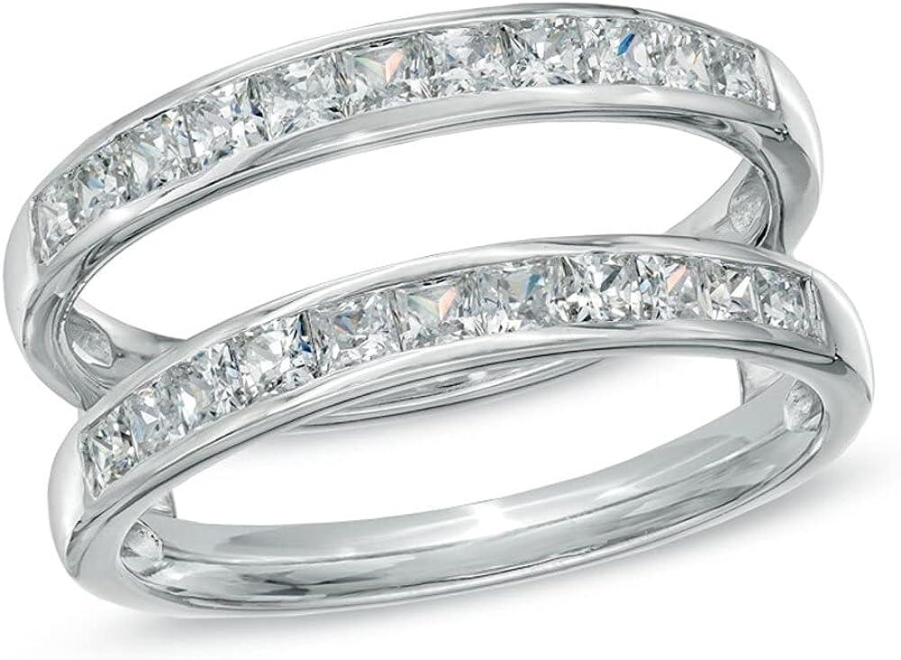 tusakha 1.20 CT Princess Cut 14K White Gold Finish Swarovski Created Diamonds Solitaire Enhancer Wrap Ring For Women's