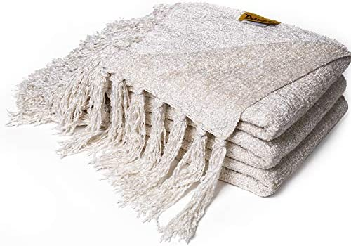 Best DOZZZ Fluffy Chenille Knitted Throw Blanket with Decorative Fringe for Home Décor Bed Sofa Couch Ch