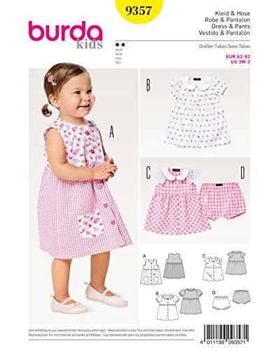Burda 9357 Schnittmuster Kleid mit Bubikragen und Höschen (Kids, Gr. 62-92) Level 2 Leicht