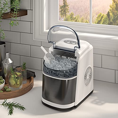 OKADA Portable Ice Maker Countertop - 9 Ice Cubes Ready in 6 Mins - Makes 26 lbs Ice in 24 hrs - Electric Ice Making Machine with Basket and Ice Scoop White