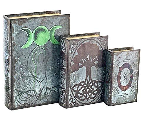 Bellaa 28229 Book Box Triple Moon Goddess Tree of Life Pentacle Set 3 Pagan Wiccan Neopaganism Lunar Symbol