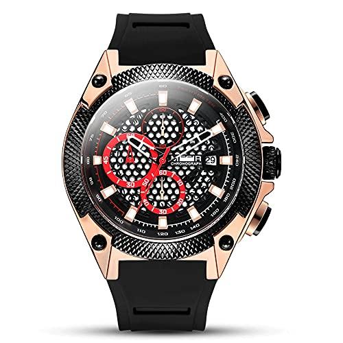 Moda Dial Hueco Cronógrafo Relojes De Cuarzo 丨 Multifuncional Luminoso / Impermeable / Calendario Automático Reloj De Pulsera De Silicona Para Hombre, Exterior Militar Analógico Reloj Casual De Negoci