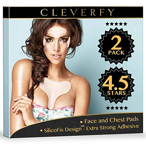 Cleverfy Chest Wrinkle Pads Sleeping & Facial Wrinkle Patches - 2x Silicone Eye Pads, 1x Decollete Anti Wrinkle Chest Pads and 1x Forehead Wrinkle Patches - Silicone Wrinkle Pads for Chest Wrinkles Prevention