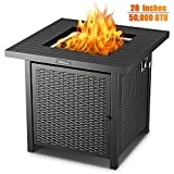 Propane Fire Pit Table, TACKLIFE Outdoor Companion, 28 Inch 50,000 BTU Auto-Ignition Gas Fire Pit Table with Cover, ETL Certification and Strong Striped Steel Surface, Table in Summer, Stove in Winter