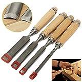 ZHFENG 4pcs / Set Talla de las herramientas de la herramienta Woodcarve Conjunto de madera gubia Cincel de la carpintería de la manija escultura de la mano de bricolaje Xilografía arte artista carpint