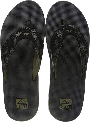 Reef Mens Fanning Prints Fashion casual Flip-Flop, Olive Palm, 9 UK