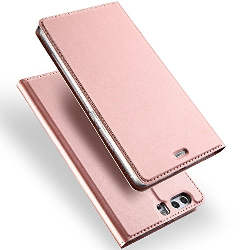 Conie EF10565 Electroplated Flip Hülle Kompatibel mit Huawei P10, PU Leder Hülle Flip Wallet Cover Kartenfächer Standfunktion Magnetisch für P10 Etui Rosegold